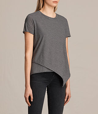 Donne T-shirt Daisy Stripe (WASHEDBLACK/OYSTER) - product_image_alt_text_2