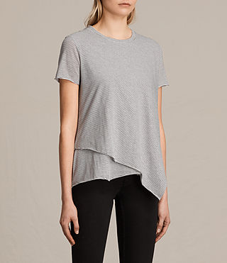 Women's Daisy Stripe Tee (CHALK/SMOKE NAVY) - product_image_alt_text_2