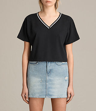 Damen Breeze Contrast Tee (Black/Chalk)