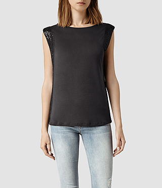 Womens Nela Top (Washed Black)