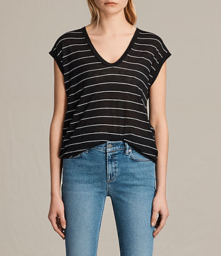 Damen Myla Stripe Tee (Black/Chalk)