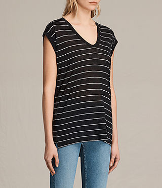 Women's Myla Stripe Tee (Black/Chalk) - product_image_alt_text_2