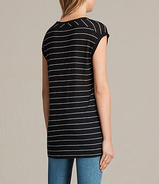 Women's Myla Stripe Tee (Black/Chalk) - product_image_alt_text_3