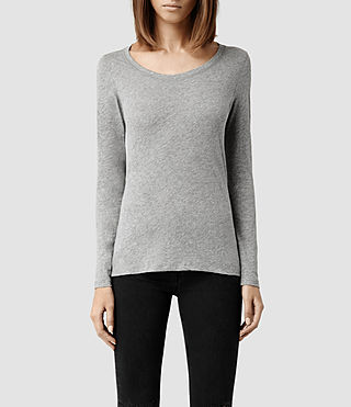 Donne Stam Long Sleeved Top (Grey Marl)