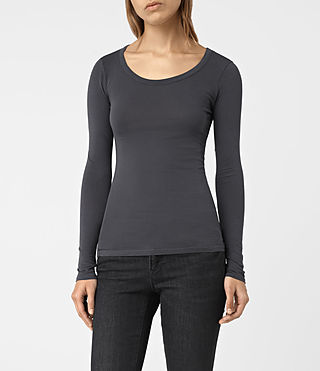 Mujer Stam Long Sleeved Top (Washed Black) -