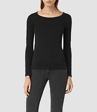 Womens Stam Long Sleeved Top (Jet Black) - product_image_alt_text_1