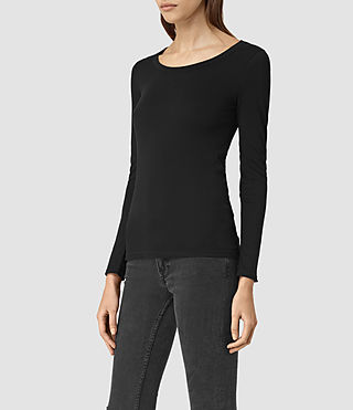 Mujer Stam Long Sleeved Top (Jet Black) - product_image_alt_text_2