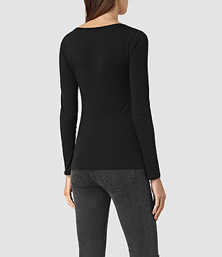 Womens Stam Long Sleeved Top (Jet Black) - product_image_alt_text_3
