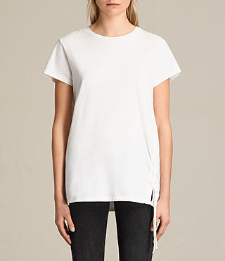 Damen Aisla Laced Tee (Chalk White) - product_image_alt_text_2
