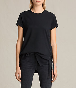Damen Aisla Laced T-Shirt (Black) -