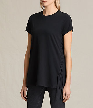 Damen Aisla Laced T-Shirt (Black) - product_image_alt_text_3