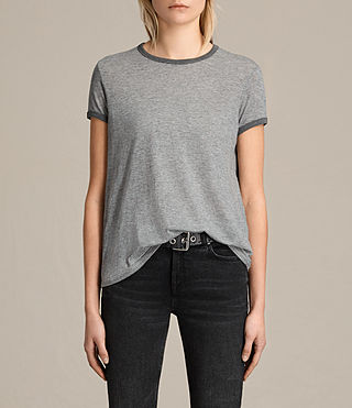 Women's Maicy Stripe Tee (GREY MARL/NUDE) -