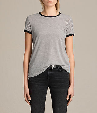 Femmes T-shirt Maicy à rayures (CHALK/SMOKE NAVY) -