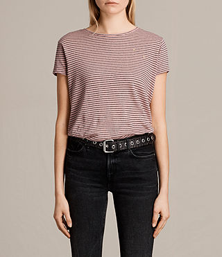 Womens Anja Stripe Tee (PINK/WASHED NAVY) - product_image_alt_text_2
