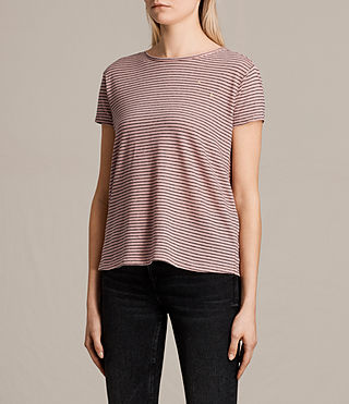 Womens Anja Stripe Tee (PINK/WASHED NAVY) - product_image_alt_text_3