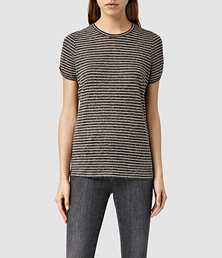 Womens Mazzy Stripe Tee (ANTHR GREY/CHK WHT)