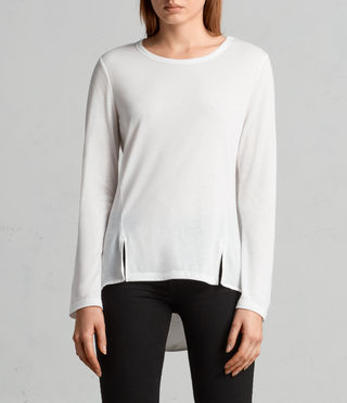 Womens Nadia Long Sleeve Tee (Chalk White) - Image 2