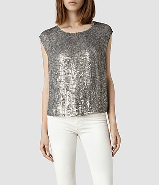 Womens Annelin Top (Oyster/Silver)