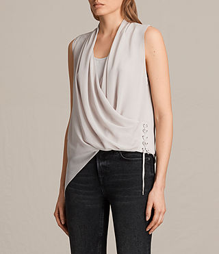 Women's Ali Laced Top (Stone Grey) - product_image_alt_text_3