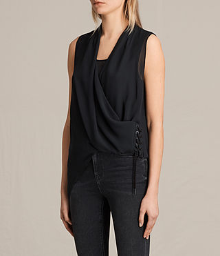 Women's Ali Laced Top (Black) - product_image_alt_text_2