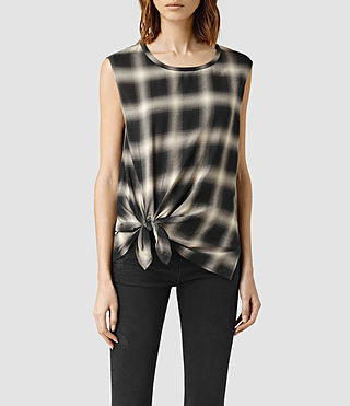 Womens Heny Check Top (Black Check)
