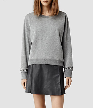 Womens Soph Cropped Sweat (Grey Marl)