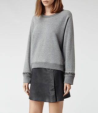 Womens Soph Cropped Sweat (Grey Marl) - product_image_alt_text_2