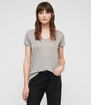 Womens Malin Silk T-Shirt (Grey Marl) - Image 1