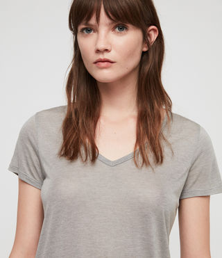 Womens Malin Silk T-Shirt (Grey Marl) - Image 2