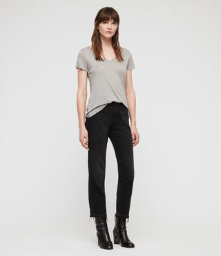 Womens Malin Silk T-Shirt (Grey Marl) - Image 3