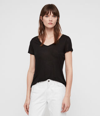 Womens Malin Silk T-Shirt (Black) - product_image_alt_text_1