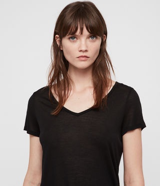 Damen Malin T-Shirt aus Seide (Black) - product_image_alt_text_2