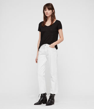 Women's Malin Silk T-Shirt (Black) - product_image_alt_text_3