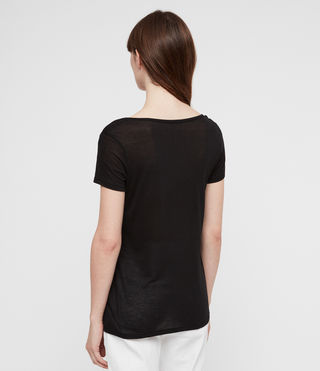 Damen Malin T-Shirt aus Seide (Black) - product_image_alt_text_4