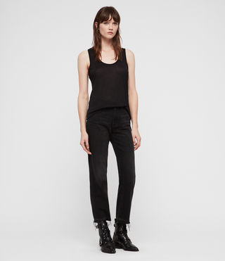 Womens Malin Silk Tank (Black) - Image 3