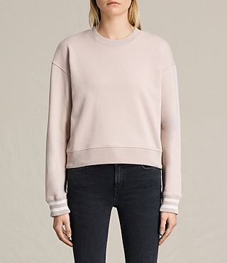 Donne Yvonne Cropped Rib Sweat (ALMOND PINK/CHALK)