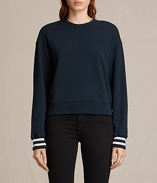 Mujer Yvonne Cropped Rib Sweatshirt (INK BLUE/CHALK)