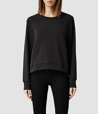 Womens Maris Cropped Sweat (Washed Black)