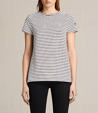 Femmes Ione Stripe Tee (CHALK/NAVY BLUE)