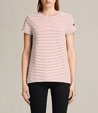 Womens Ione Stripe Tee (CHALK WHITE/CORAL)