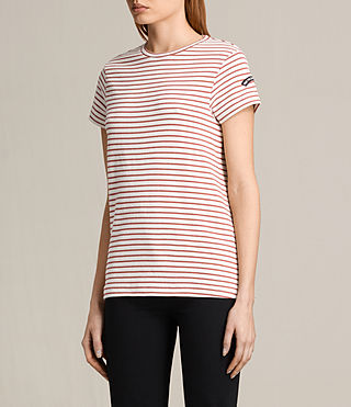 Women's Ione Stripe Tee (CHALK WHITE/CORAL) - product_image_alt_text_3