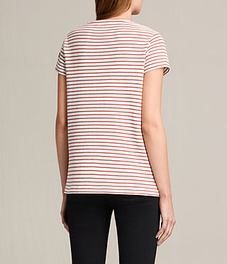 Women's Ione Stripe Tee (CHALK WHITE/CORAL) - product_image_alt_text_4