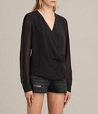 Mujer Nile Silk Top (Black) - product_image_alt_text_3