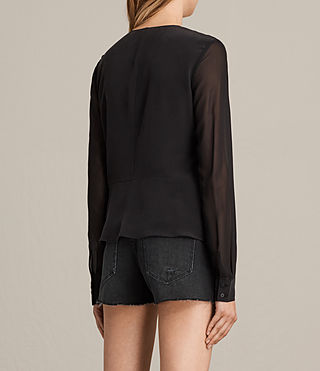 Mujer Nile Silk Top (Black) - product_image_alt_text_4