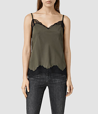 Womens Emeline Camisole Top (Khaki Green)