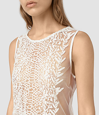 Womens Cariad Embroidered Top (Chalk White)