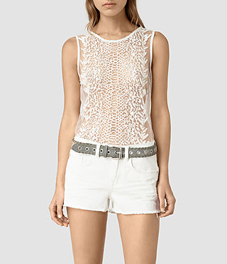 Women's Cariad Embroidered Top (Chalk White) - product_image_alt_text_2