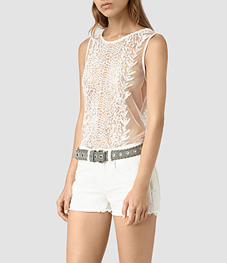 Women's Cariad Embroidered Top (Chalk White) - product_image_alt_text_3
