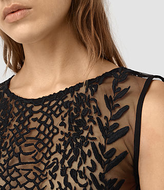 Women's Cariad Embroidered Top (Black) -