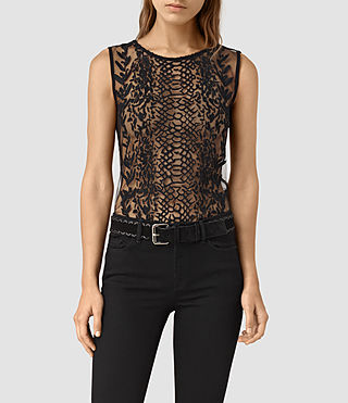 Women's Cariad Embroidered Top (Black) - product_image_alt_text_2